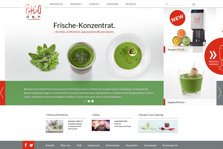 Langenstein Portfolio: Pacojet Website Vorschau